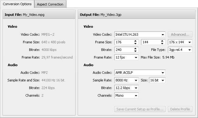 Conversion Options Tab - 3GP