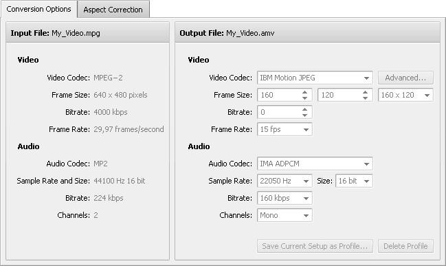 Conversion Options Tab - AMV