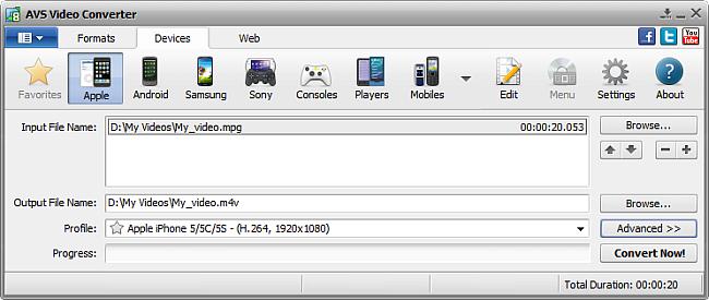 AVS Video Converter main window - for Apple
