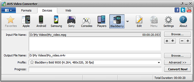 AVS Video Converter main window - for BlackBerry
