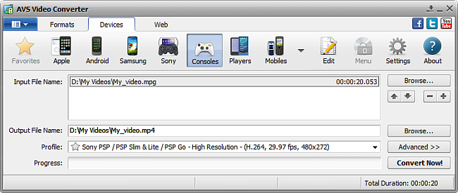 AVS Video Converter main window - for Consoles