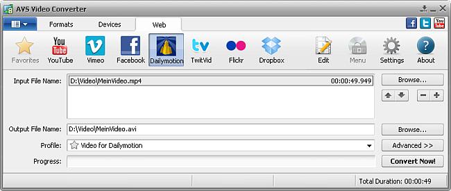 AVS Video Converter main window - Dailymotion