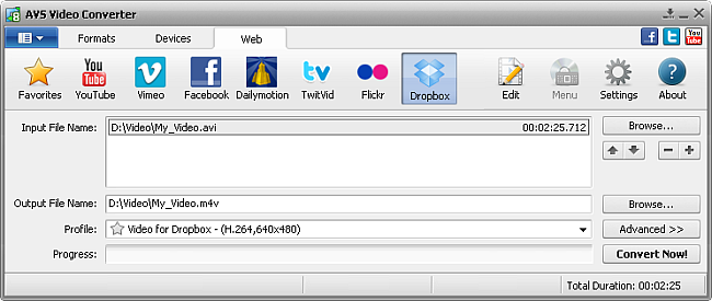 AVS Video Converter main window - Dropbox