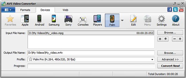 AVS Video Converter main window - for Palm