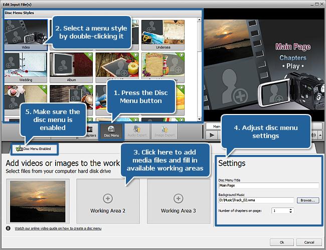 Editing Input File(s) window - Disc Menu