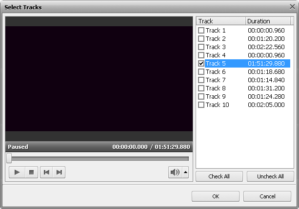 Select Tracks window