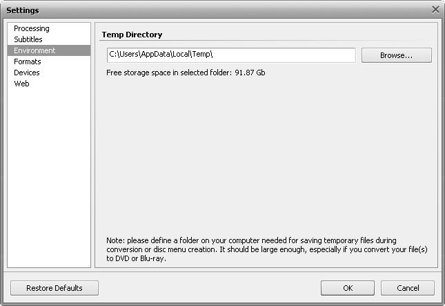 Settings window - Environment tab