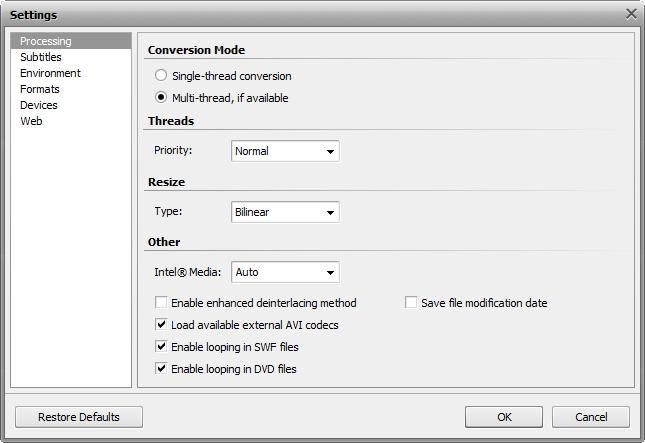 Settings window - Processing tab