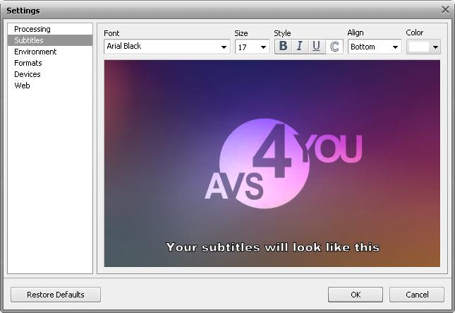 Settings window - Subtitles tab