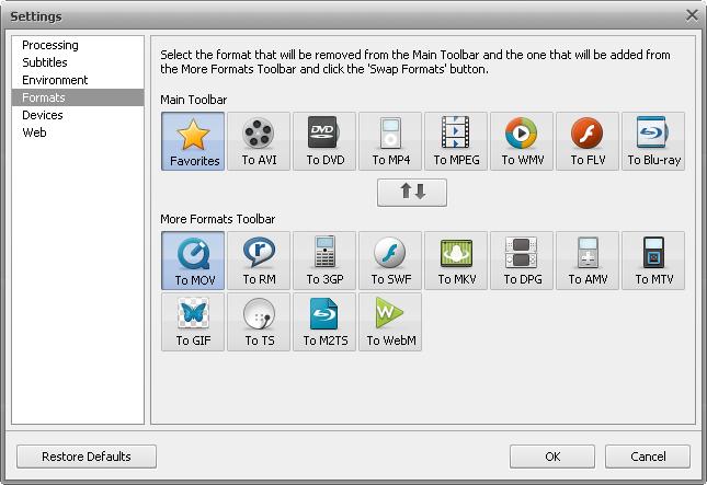 Settings window - Formats tab
