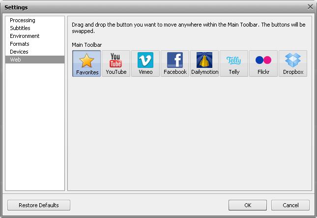 Settings window - Web tab