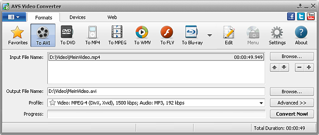 AVS Video Converter Main Window - to AVI