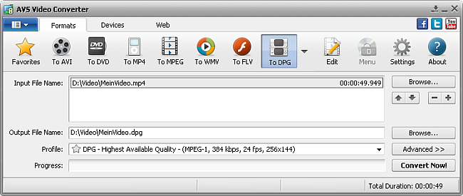 AVS Video Converter main window - to DPG
