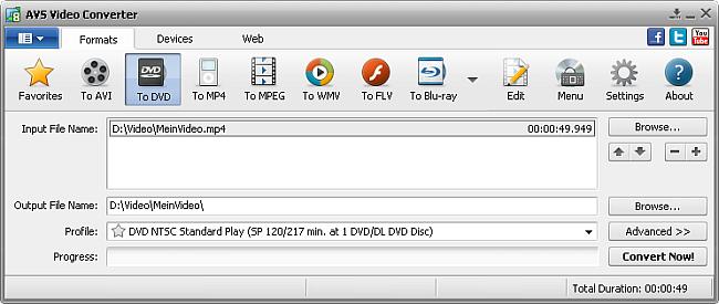 AVS Video Converter main window - to DVD