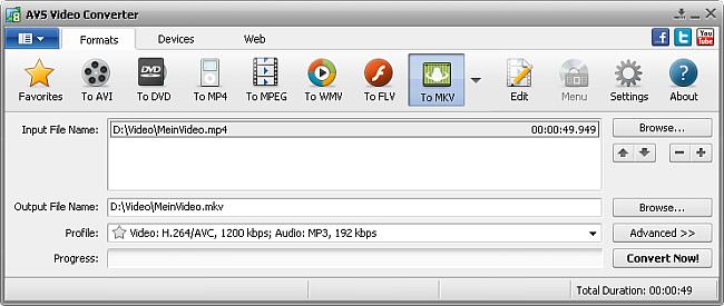AVS Video Converter main window - to MKV