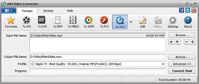 AVS Video Converter main window - to MOV