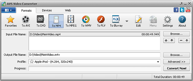 AVS Video Converter Main Window - to MP4