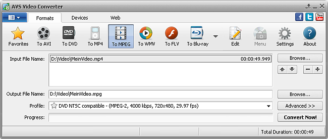 AVS Video Converter main window - to MPEG