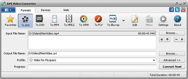 AVS Video Converter main window - AVI