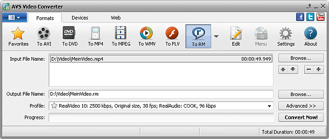 AVS Video Converter main window - to RM