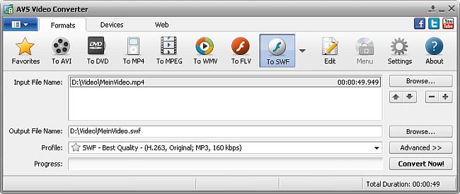 AVS Video Converter main window - to SWF