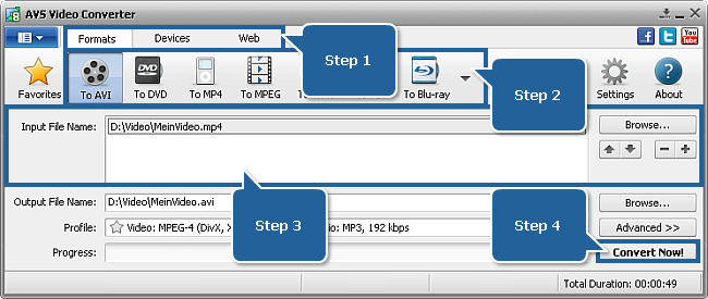 AVS Video Converter Main Window