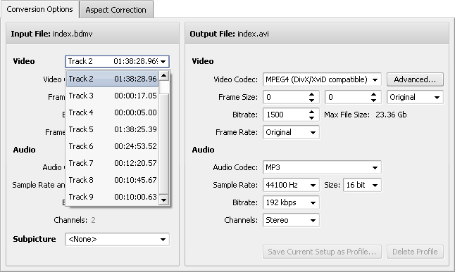 Selecting a video track