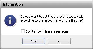 Project Aspect window