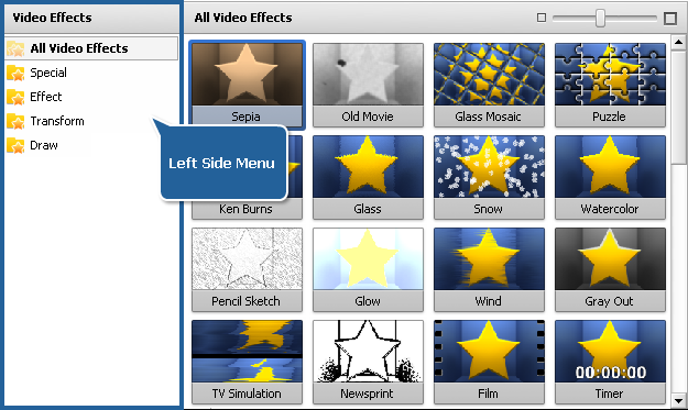 Files and Effects Area - Effects view