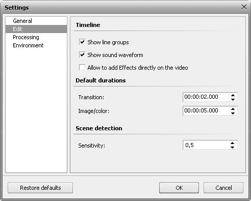 Settings window. Edit tab
