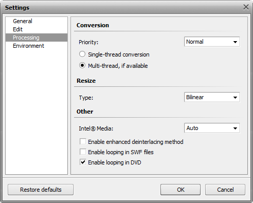 Settings window. Processing tab