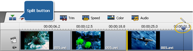 Splitting Video at the Timeline