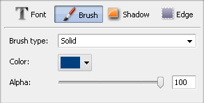 Text Properties window. Brush
