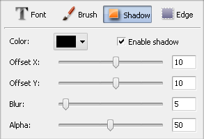 Text Properties window. Shadow