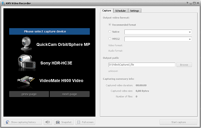 AVS Video Recorder main window