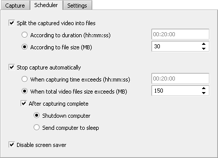 Setting scheduling options