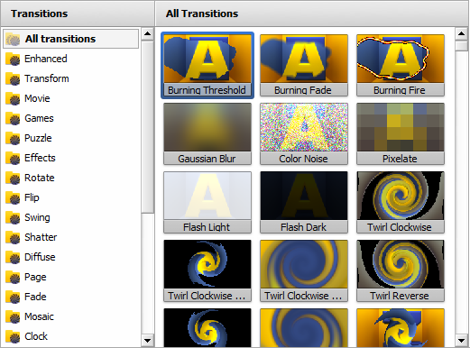 Selection Area - Transitions view