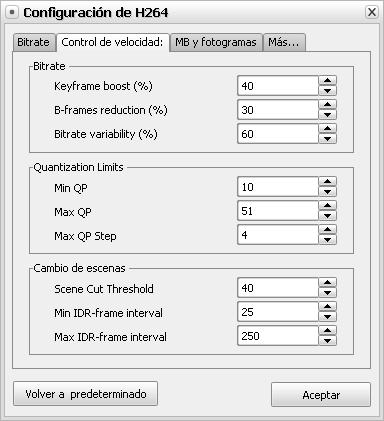 Configuración del codec de vídeo H.264