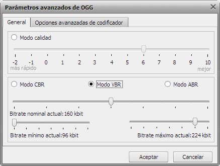 Parámetros avanzados de OGG Vorbis