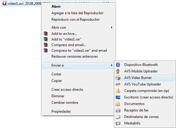 Menú express de Windows Explorer