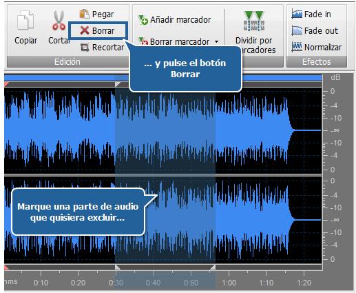 Edición de audio - Eliminación de partes indeseadas