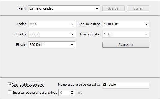 Área de edició - Editor de parámetros de salida