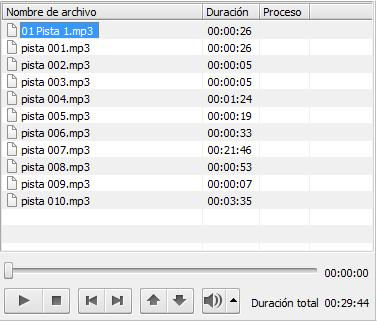 AVS Audio Converter - Área de audio de entrada