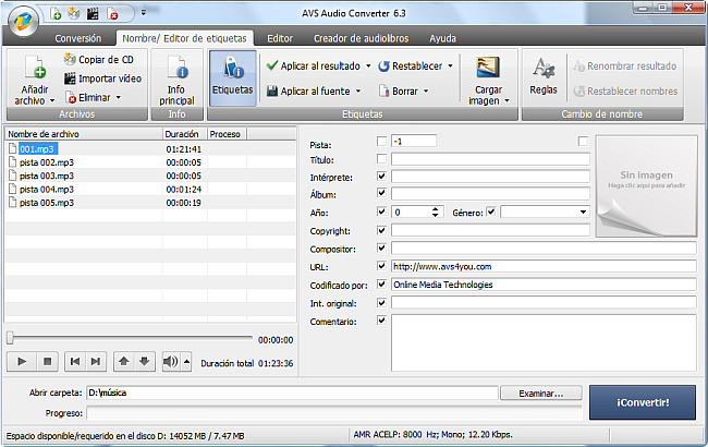 AVS Audio Converter - Modificación de etiquetas de audio