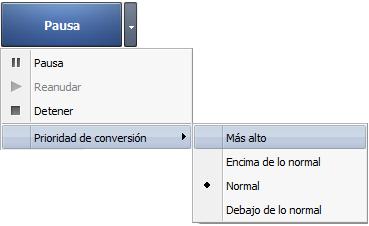 Botón Convertir/Pausa