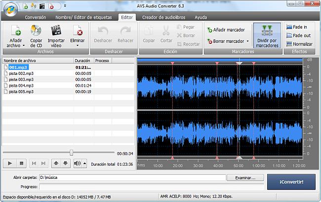 AVS Audio Converter - División de archivos de audio