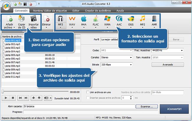 Funciones de AVS Audio Converter - Pasos 1, 2, 3