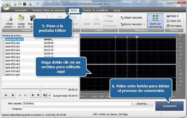 Funciones de AVS Audio Converter - Pasos 5, 6
