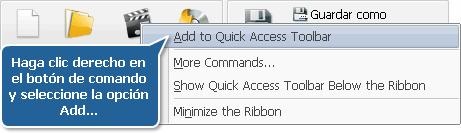 Cómo añadir un botón de comando a la barra de acceso rápido