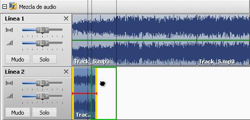 Cambio de posición de un archivo de audio